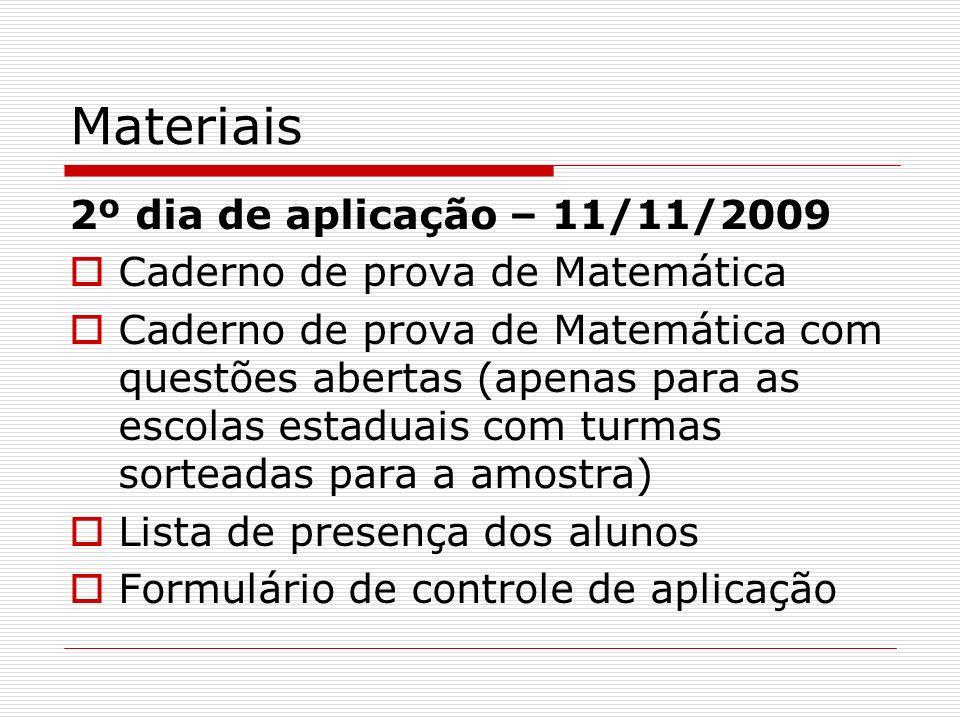 Materiais 2º dia de aplicação – 11/11/2009