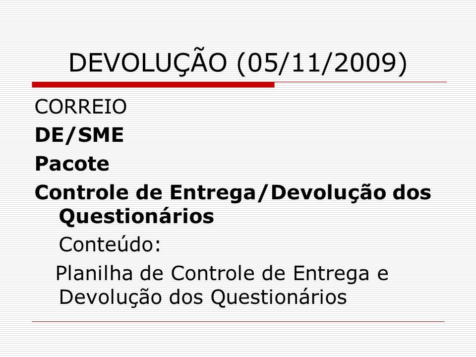 DEVOLUÇÃO (05/11/2009) CORREIO DE/SME Pacote