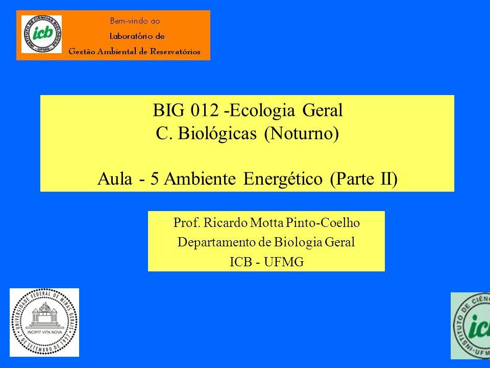 BIG 012 -Ecologia Geral C. Biológicas (Noturno) Aula - 5 Ambiente Energético (Parte II)