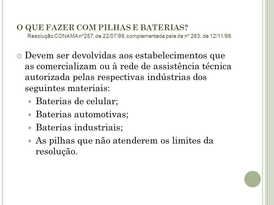 O QUE FAZER COM PILHAS E BATERIAS