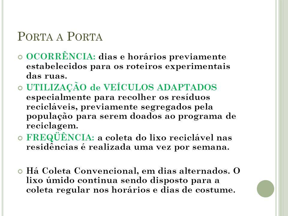 Porta a Porta OCORRÊNCIA: dias e horários previamente estabelecidos para os roteiros experimentais das ruas.