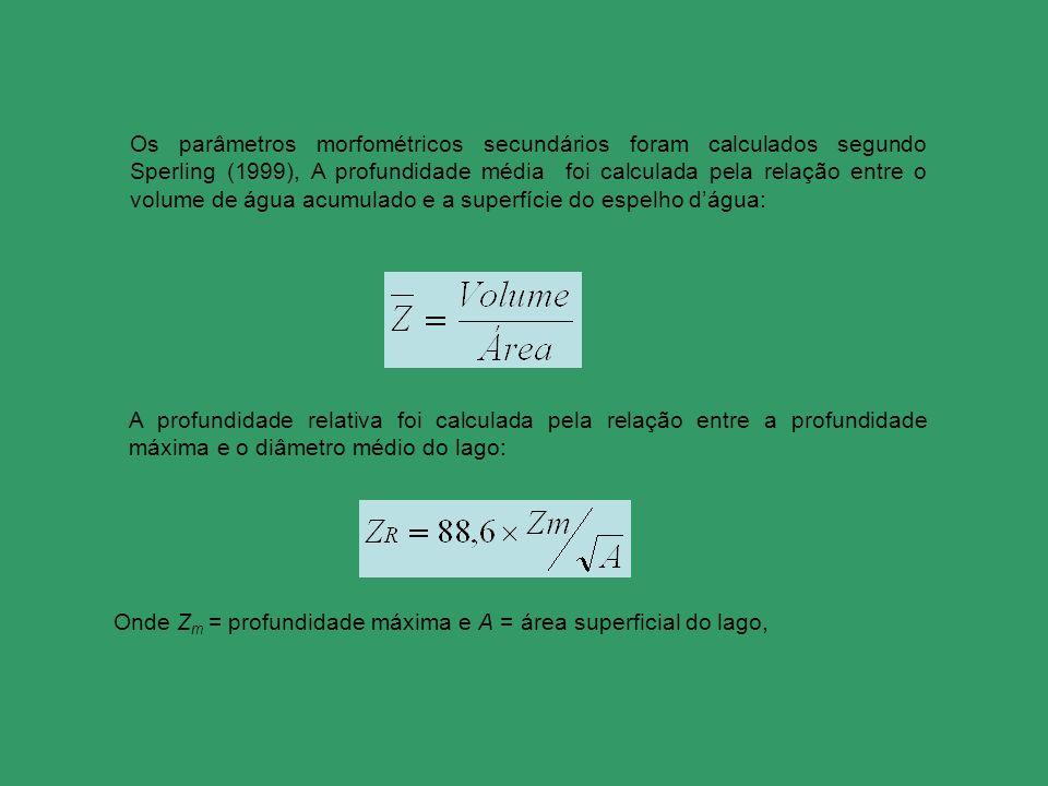Os parâmetros morfométricos secundários foram calculados segundo Sperling (1999), A profundidade média foi calculada pela relação entre o volume de água acumulado e a superfície do espelho d'água: