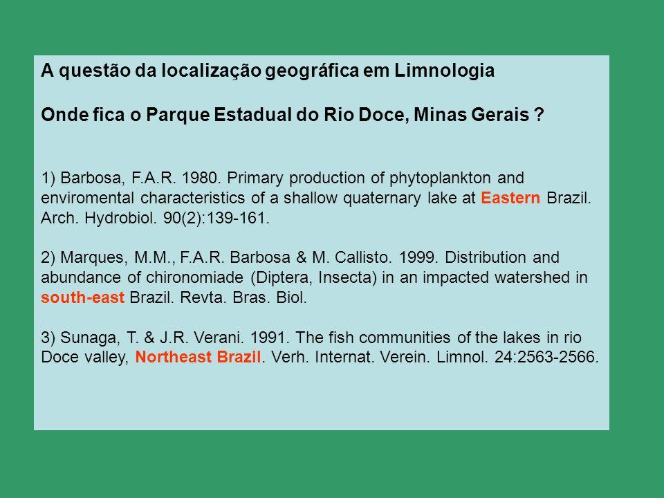 A questão da localização geográfica em Limnologia