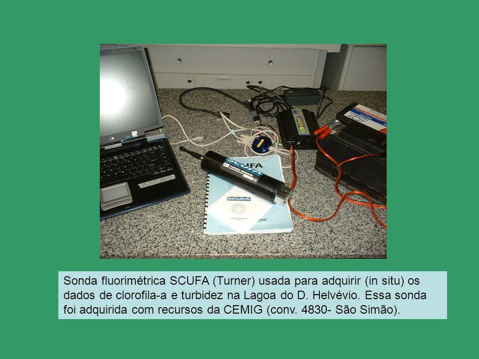 Sonda fluorimétrica SCUFA (Turner) usada para adquirir (in situ) os dados de clorofila-a e turbidez na Lagoa do D.