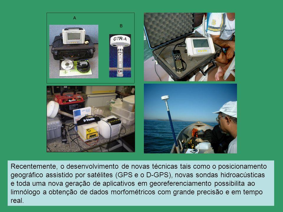 Recentemente, o desenvolvimento de novas técnicas tais como o posicionamento geográfico assistido por satélites (GPS e o D-GPS), novas sondas hidroacústicas e toda uma nova geração de aplicativos em georeferenciamento possibilita ao limnólogo a obtenção de dados morfométricos com grande precisão e em tempo real.