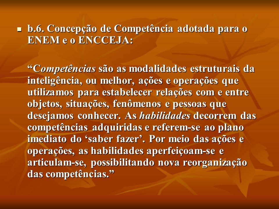 b.6. Concepção de Competência adotada para o ENEM e o ENCCEJA: