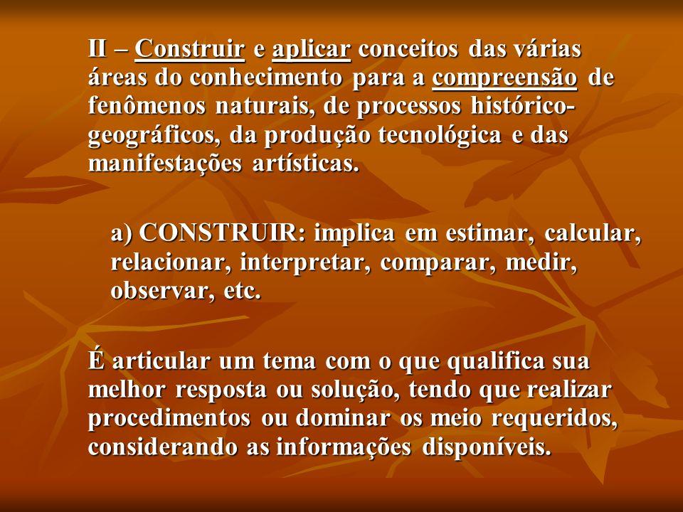 II – Construir e aplicar conceitos das várias áreas do conhecimento para a compreensão de fenômenos naturais, de processos histórico-geográficos, da produção tecnológica e das manifestações artísticas.