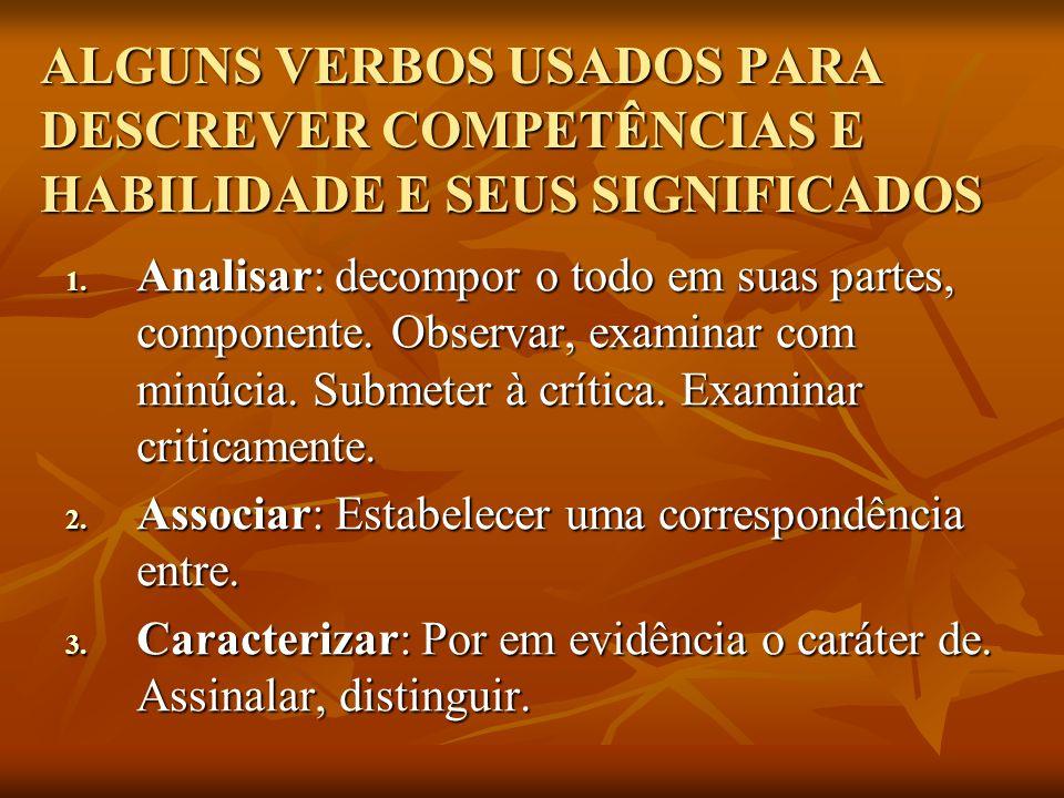 ALGUNS VERBOS USADOS PARA DESCREVER COMPETÊNCIAS E HABILIDADE E SEUS SIGNIFICADOS