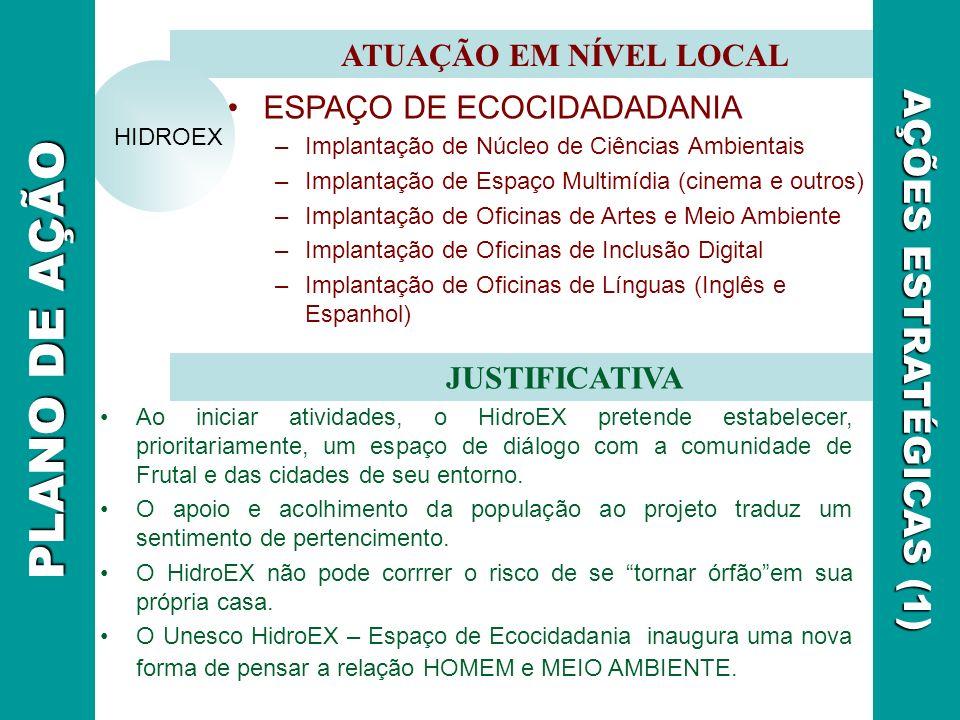 PLANO DE AÇÃO AÇÕES ESTRATÉGICAS (1) ATUAÇÃO EM NÍVEL LOCAL