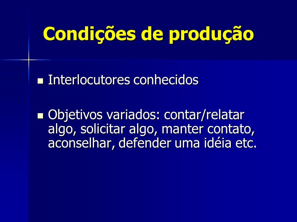 Condições de produção Interlocutores conhecidos
