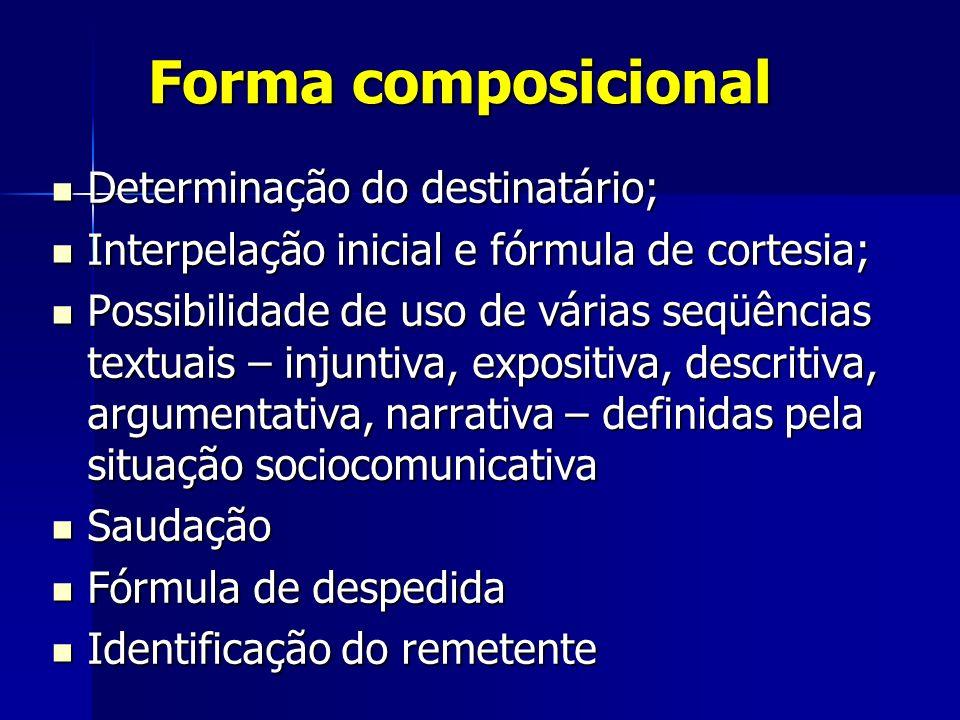 Forma composicional Determinação do destinatário;