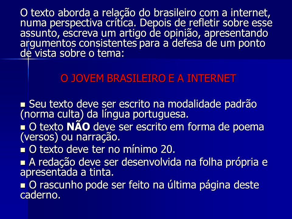 O JOVEM BRASILEIRO E A INTERNET