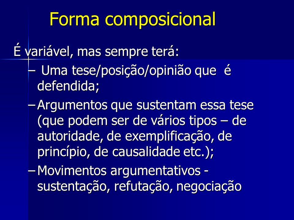 Forma composicional É variável, mas sempre terá: