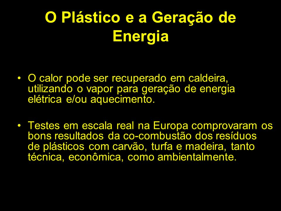 O Plástico e a Geração de Energia