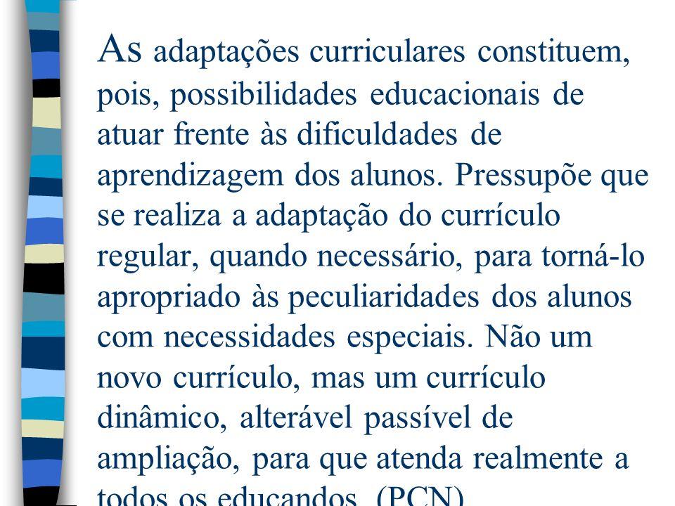 As adaptações curriculares constituem, pois, possibilidades educacionais de atuar frente às dificuldades de aprendizagem dos alunos.