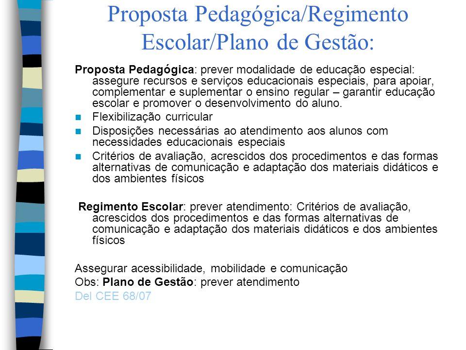 Proposta Pedagógica/Regimento Escolar/Plano de Gestão: