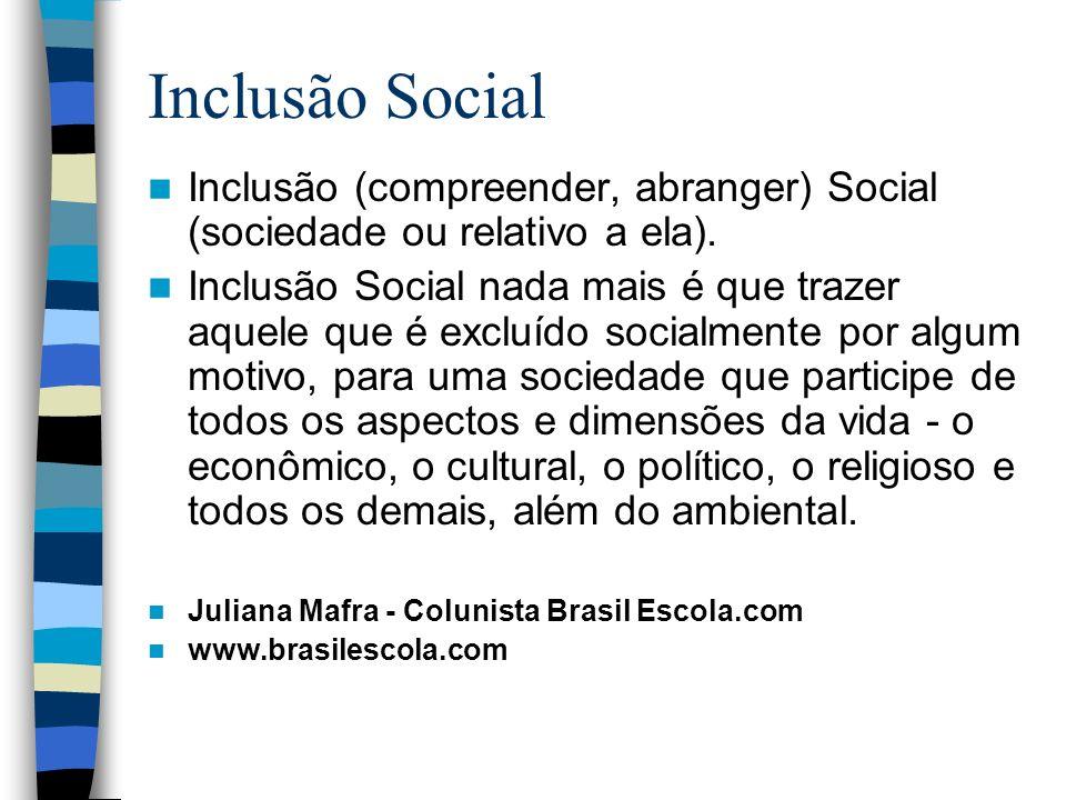Inclusão SocialInclusão (compreender, abranger) Social (sociedade ou relativo a ela).