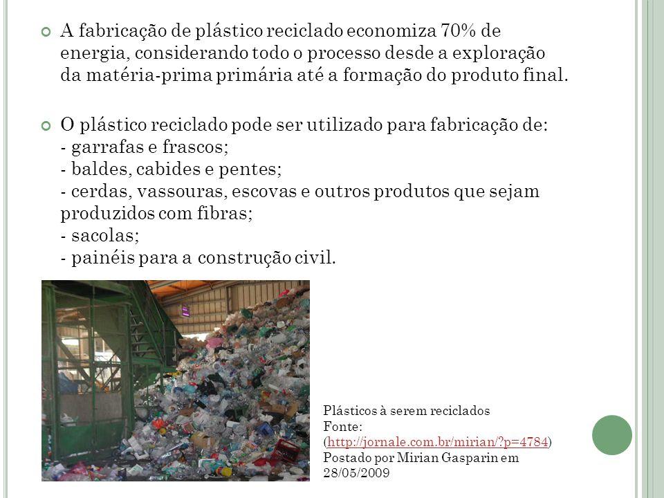A fabricação de plástico reciclado economiza 70% de energia, considerando todo o processo desde a exploração da matéria-prima primária até a formação do produto final.