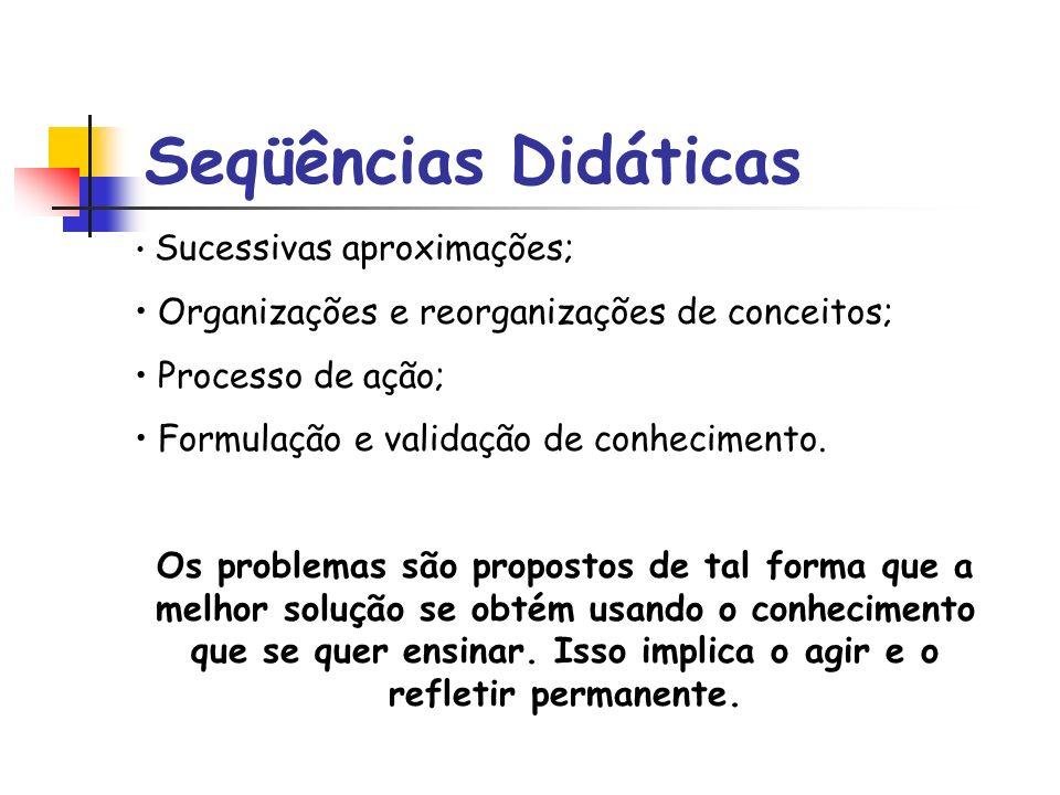 Seqüências Didáticas Organizações e reorganizações de conceitos;
