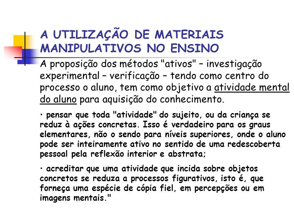 A UTILIZAÇÃO DE MATERIAIS MANIPULATIVOS NO ENSINO