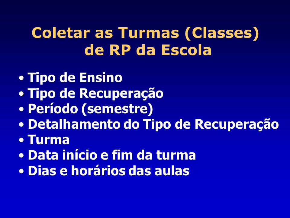 Coletar as Turmas (Classes)