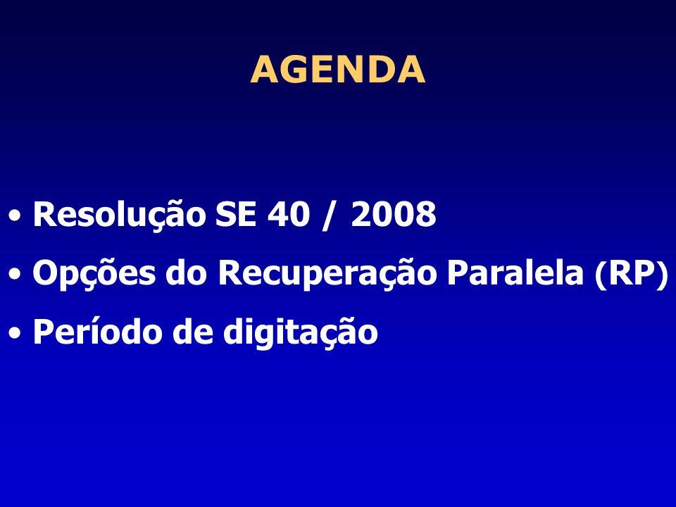AGENDA Resolução SE 40 / 2008 Opções do Recuperação Paralela (RP)