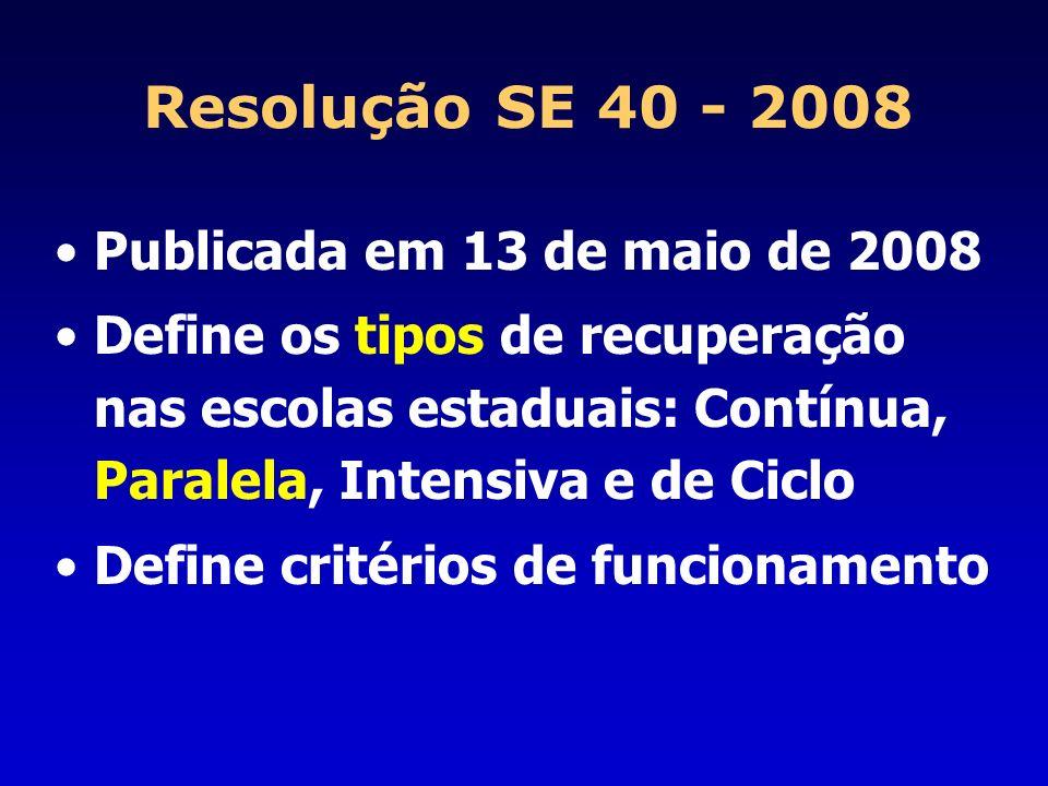 Resolução SE 40 - 2008 Publicada em 13 de maio de 2008