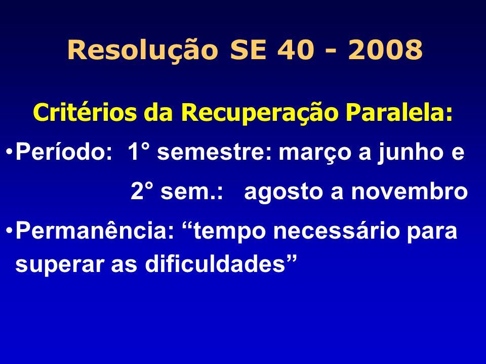 Critérios da Recuperação Paralela: