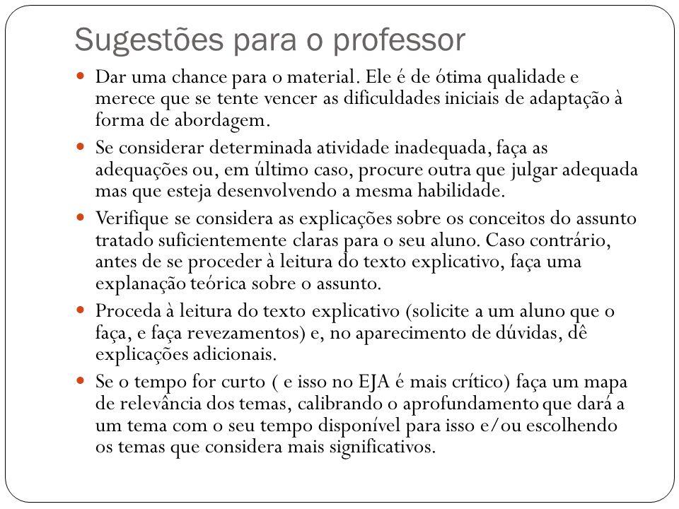 Sugestões para o professor
