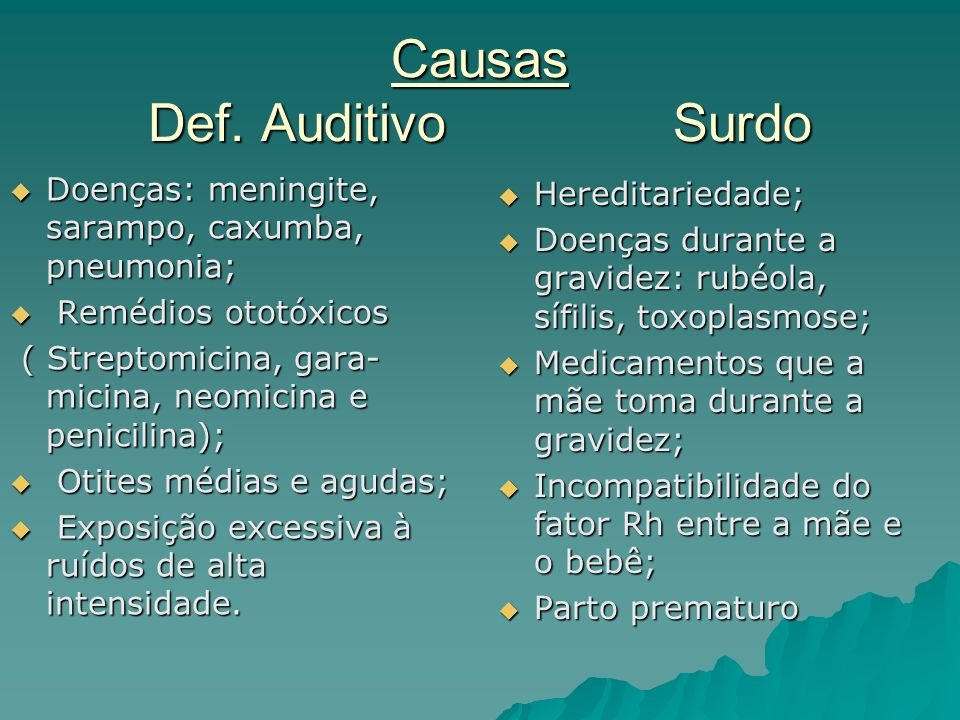 Causas Def. Auditivo Surdo