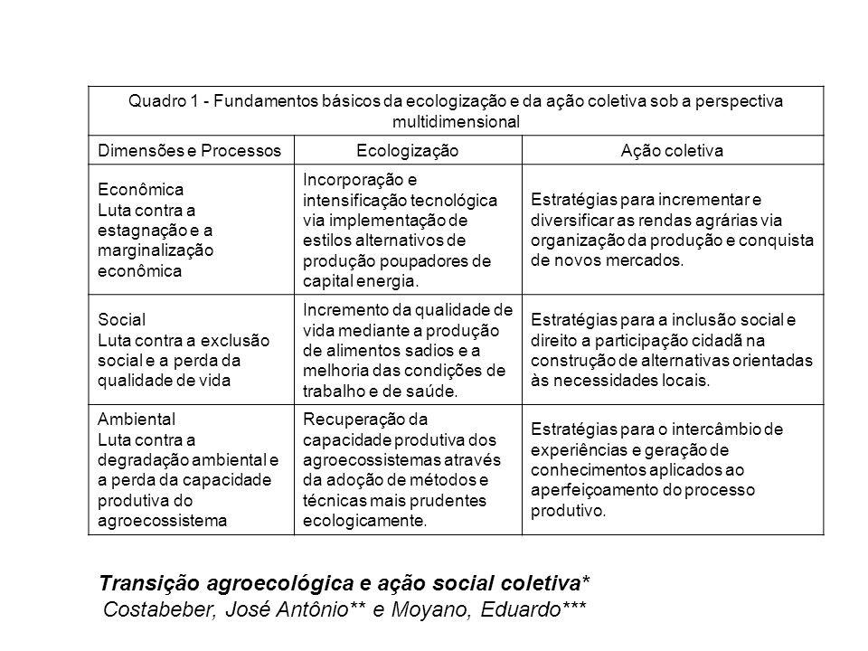 Transição agroecológica e ação social coletiva*