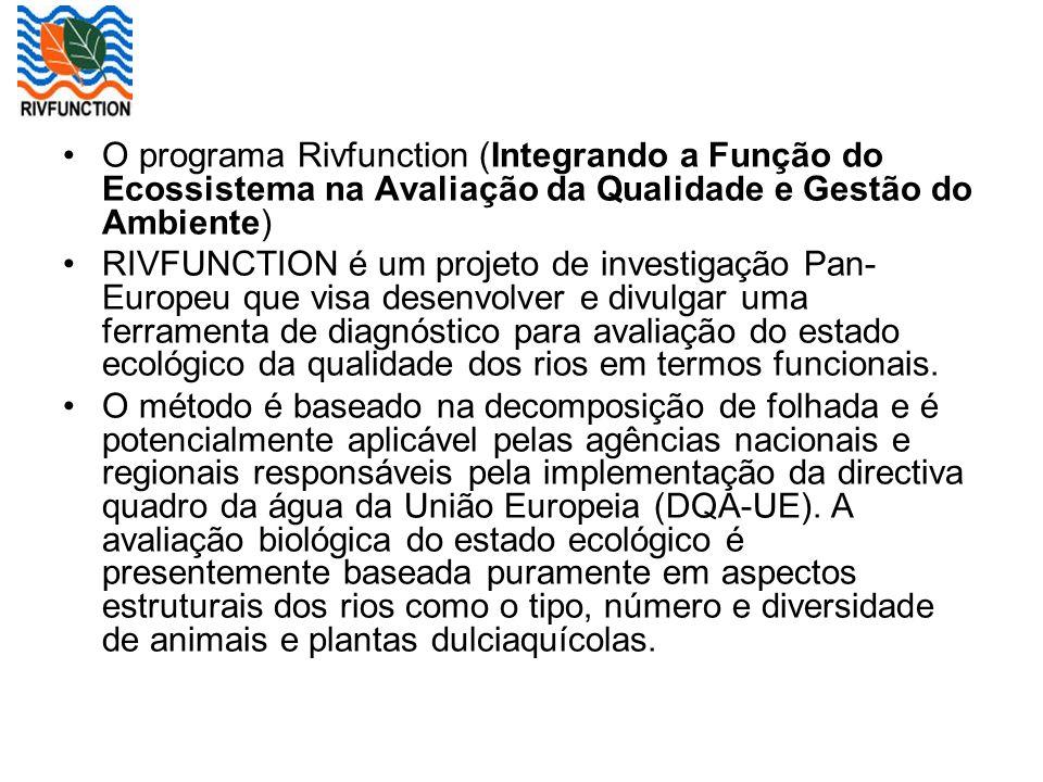 O programa Rivfunction (Integrando a Função do Ecossistema na Avaliação da Qualidade e Gestão do Ambiente)