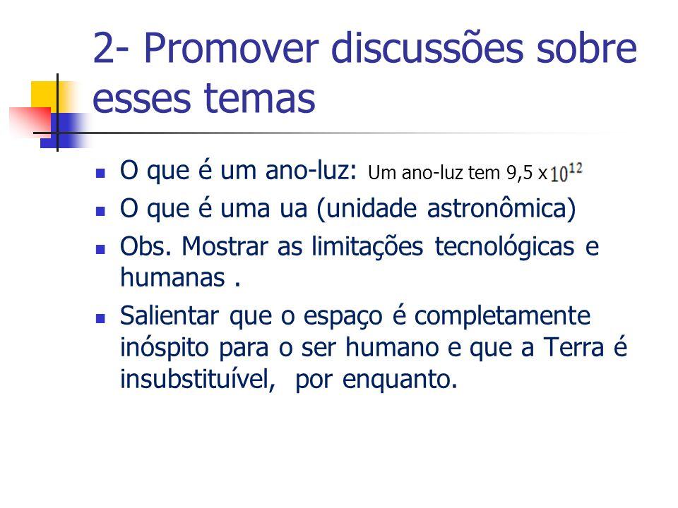 2- Promover discussões sobre esses temas
