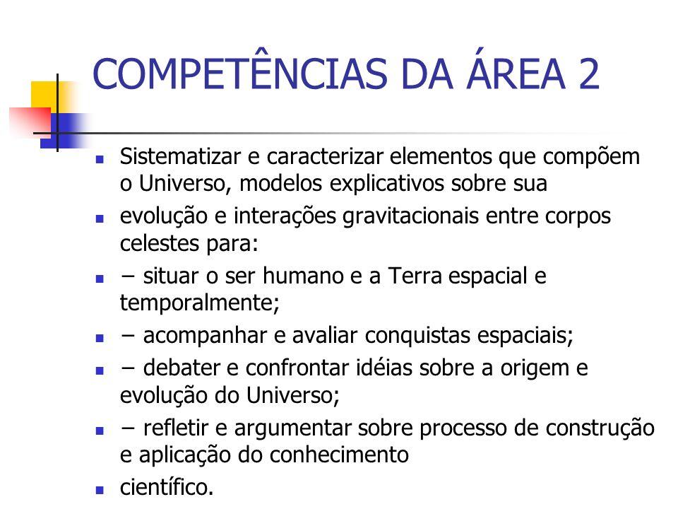 COMPETÊNCIAS DA ÁREA 2 Sistematizar e caracterizar elementos que compõem o Universo, modelos explicativos sobre sua.