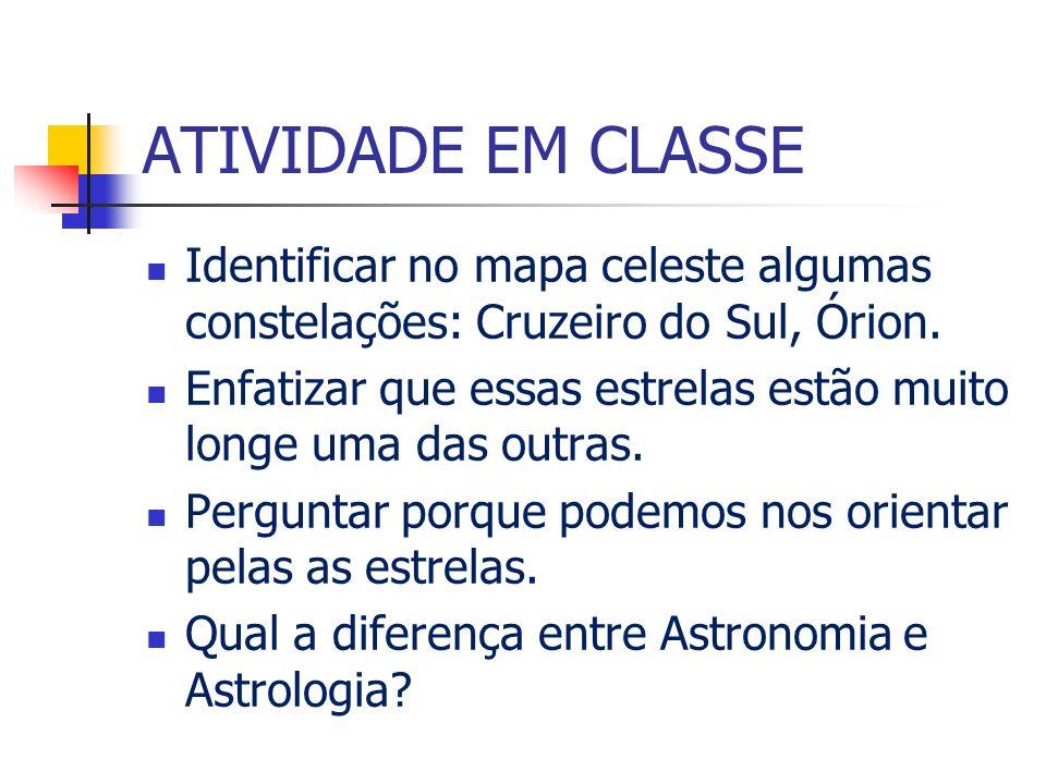 ATIVIDADE EM CLASSE Identificar no mapa celeste algumas constelações: Cruzeiro do Sul, Órion.