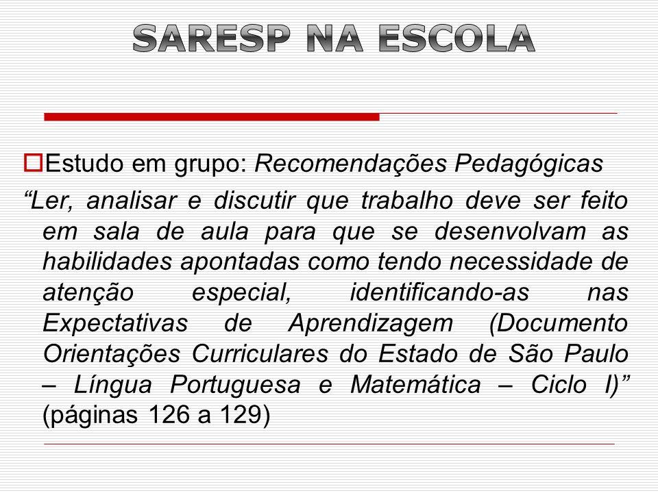 SARESP NA ESCOLA Estudo em grupo: Recomendações Pedagógicas