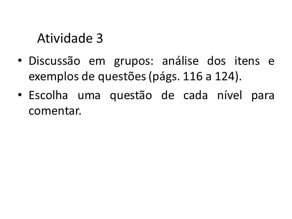 Atividade 3 Discussão em grupos: análise dos itens e exemplos de questões (págs.