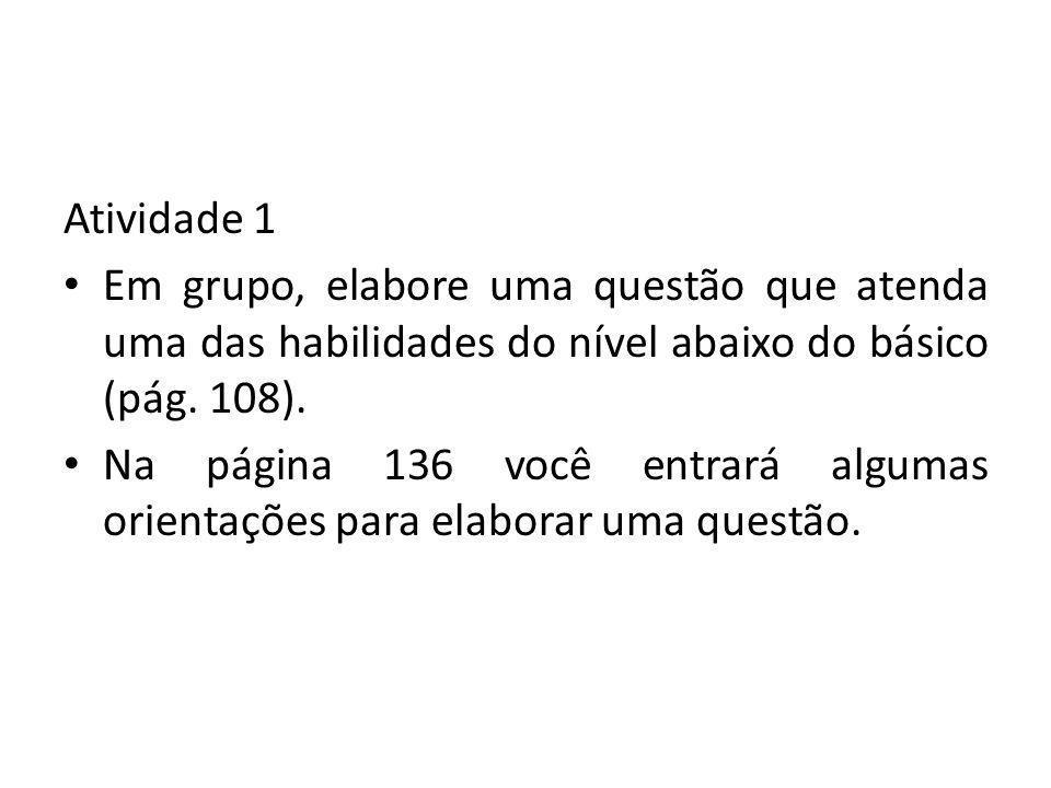 Atividade 1 Em grupo, elabore uma questão que atenda uma das habilidades do nível abaixo do básico (pág. 108).