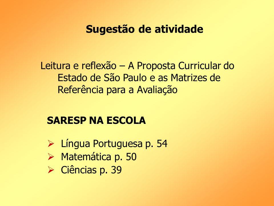 Sugestão de atividade Leitura e reflexão – A Proposta Curricular do Estado de São Paulo e as Matrizes de Referência para a Avaliação.