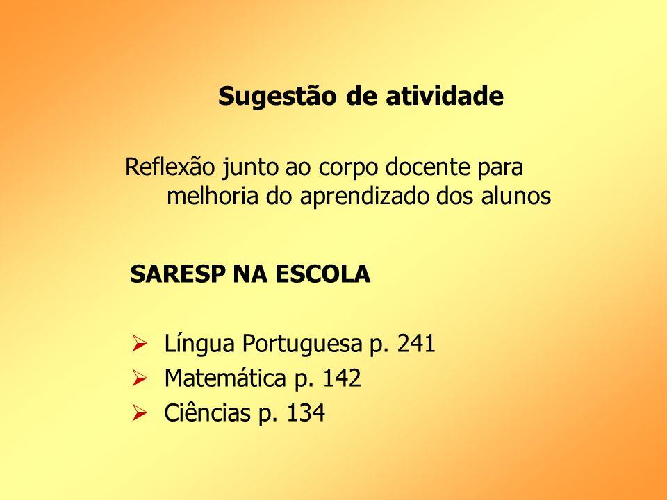 Sugestão de atividade Reflexão junto ao corpo docente para melhoria do aprendizado dos alunos. SARESP NA ESCOLA.