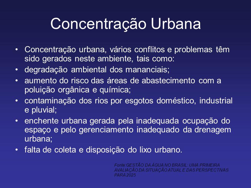 Concentração Urbana Concentração urbana, vários conflitos e problemas têm sido gerados neste ambiente, tais como: