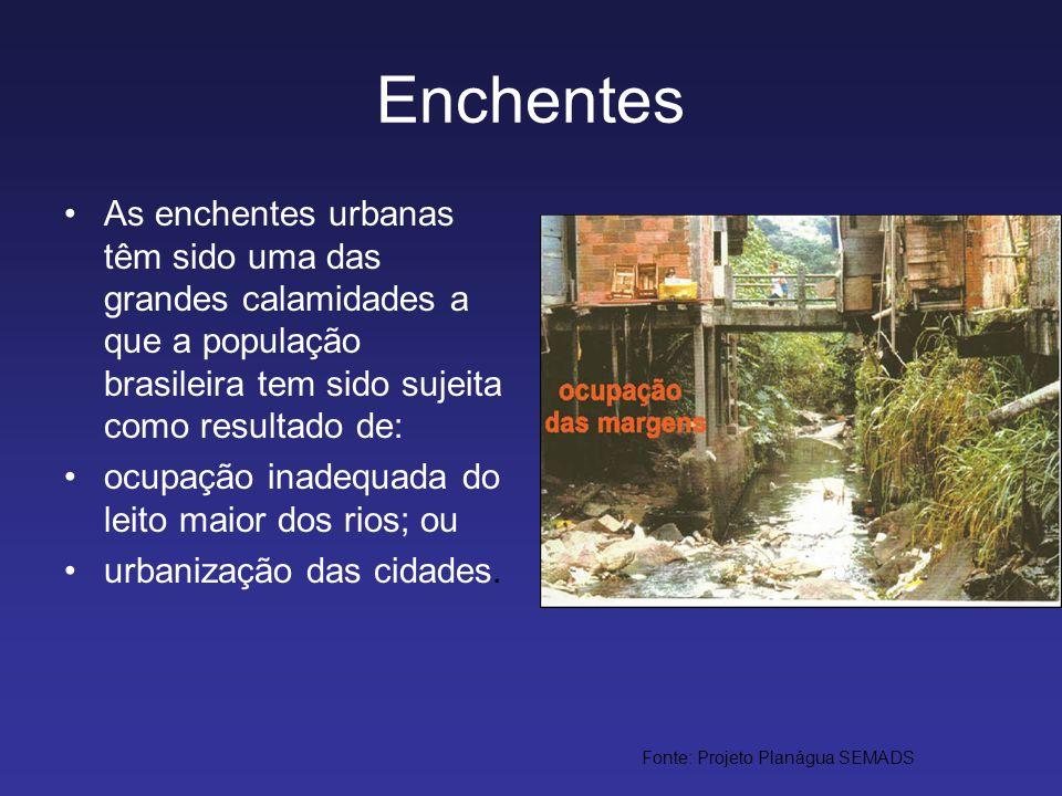 Enchentes As enchentes urbanas têm sido uma das grandes calamidades a que a população brasileira tem sido sujeita como resultado de: