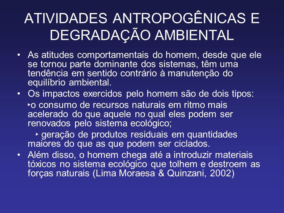 ATIVIDADES ANTROPOGÊNICAS E DEGRADAÇÃO AMBIENTAL