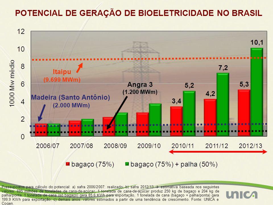 POTENCIAL DE GERAÇÃO DE BIOELETRICIDADE NO BRASIL