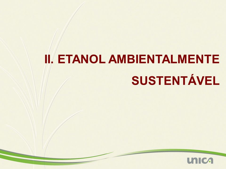 II. ETANOL AMBIENTALMENTE SUSTENTÁVEL