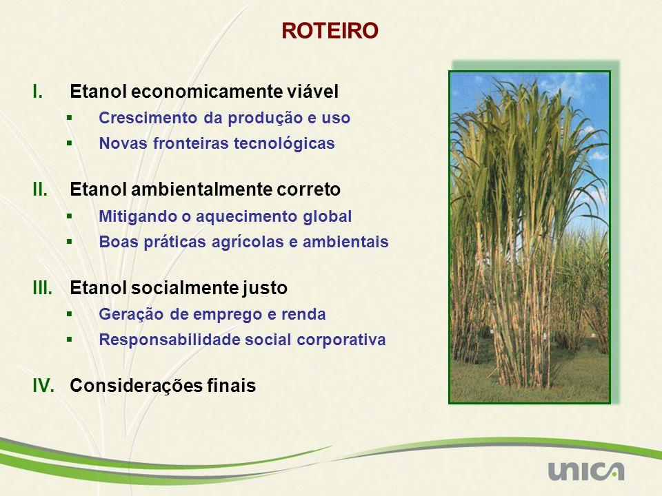 ROTEIRO Etanol economicamente viável Etanol ambientalmente correto