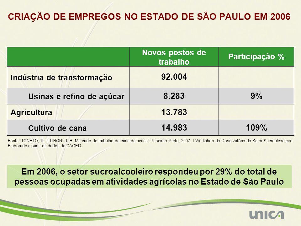CRIAÇÃO DE EMPREGOS NO ESTADO DE SÃO PAULO EM 2006