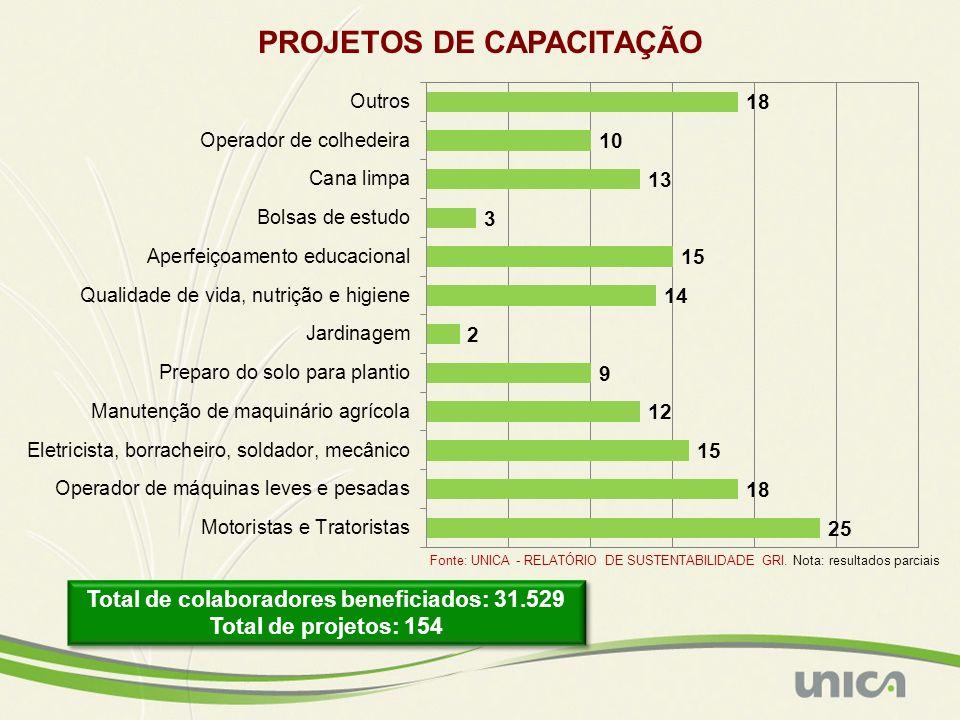 PROJETOS DE CAPACITAÇÃO Total de colaboradores beneficiados: 31.529