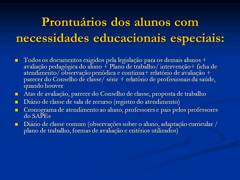 Prontuários dos alunos com necessidades educacionais especiais: