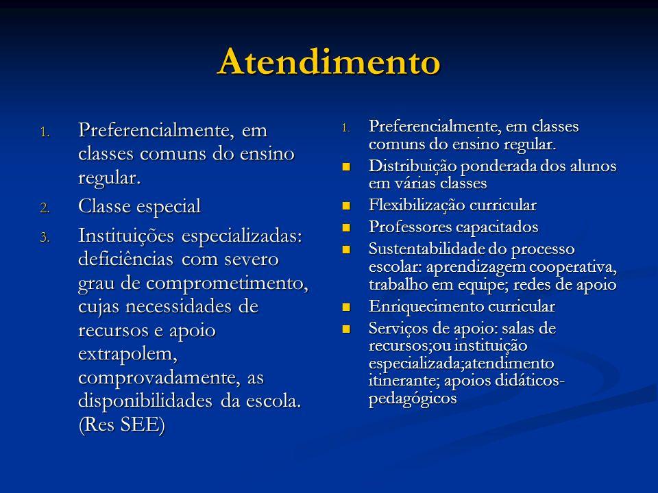 Atendimento Preferencialmente, em classes comuns do ensino regular.